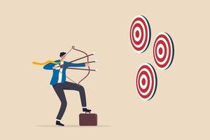 Multitasking or multiple purpose strategy, aiming for many targets or goal, skillful professional to achieve success in work and career concept, businessman aiming multiple bows on three targets. vector