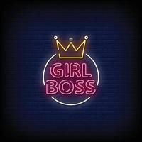 Girl Boss Neon Signs Style Text Vector