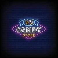 Candy Store Neon Signs Style Text Vector