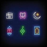 Ramadan Symbol Neon Signs Style Text Vector