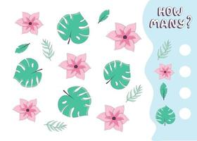 Counting game for preschool kids. Educational math game. Count how many tropical flowers and leaves there are and write down the result. Vector illustration in cartoon style