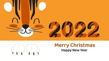 Horizontal banner or card with cute cartoon tiger face Happy New Year and Merry Christmas 2022. Vector illustration