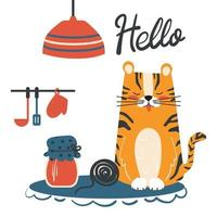 Postcard or invitation for children. Cartoon vector illustration of a cute tiger in the kitchen with jam.