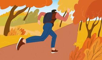 joven deportista corre en el parque en un soleado día de otoño. una clase de cardio para hombres al aire libre. ilustración vectorial plana vector