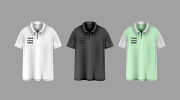 Short sleeve T shirt template set mock up vector