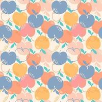 Seamless pattern with peaches or apricots, leaves and flowers. Trendy handdrawn organic flat style. Modern design, vector illustration.