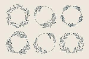 Floral wreath collection, hand drawn vector illustration isolated on white. Decorative round frames with flowers and leaves, ink sketch for wedding event invitations.