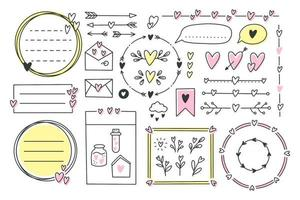 Cute bullet journal element doodles with hearts, love theme.Hand drawn banners and marks for notebook, planner or diary.Frames, borders, vignettes, dividers,notes,lists collection.Vector illustration vector