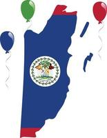 The National Flag and Map of Belize vector