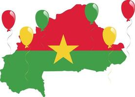 West African Burkina Faso Map and Yellow Star Flag with Red and Green Balloons vector