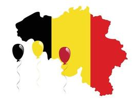 The National Colors of Belgium black, yellow, and red Flag and Map vector