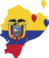 Ecuador mapa y clip de bandera enmascarada con globos rojos, amarillos y azules volando vector