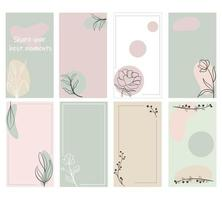 Set of backgrounds for stories and social media posts Vector