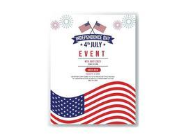 Flyer de la fiesta del día del presidente o plantilla de póster Día de la independencia del 4 de julio. ilustración vectorial vector