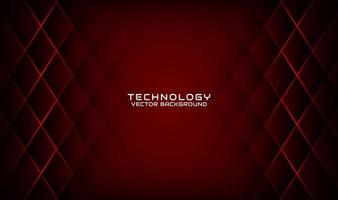 Abstract 3D red techno background overlap layers on dark space with geometric shapes decoration. Modern design template element style for flyer, card, cover, brochure, or landing page vector