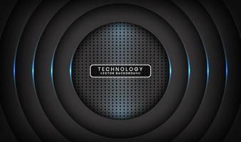 Abstract 3D black techno background overlap layers on dark space with blue light circle effect decoration. Modern design template element style for flyer, card, cover, brochure, or landing page vector