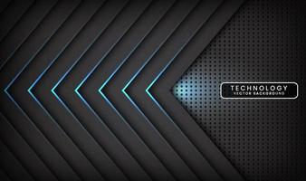 Abstract 3D black techno background overlap layers on dark space with blue light arrow effect decoration. Modern design template element style for flyer, card, cover, brochure, or landing page vector
