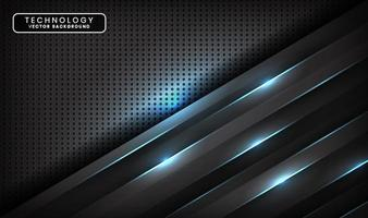 Abstract 3D black techno background overlap layers on dark space with blue light line effect decoration. Modern design template element style for flyer, card, cover, brochure, or landing page vector