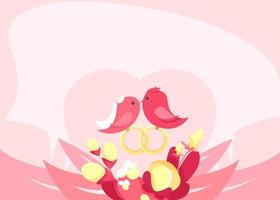 Banner template with birds in love. vector
