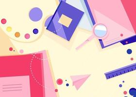 Banner template with different notebooks. School concept art. vector
