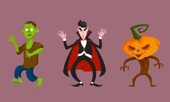 Set of monsters in intimidating poses. Halloween characters in cartoon style. vector
