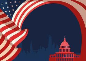 Banner with flag and silhouette of US Capitol. vector