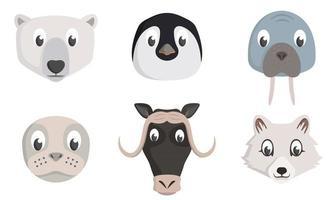Set of arctic animal heads. vector