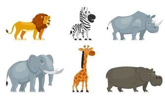 conjunto de animales africanos vista de tres cuartos. vector