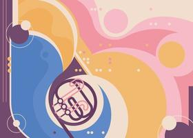 Abstract banner template with french horn. vector