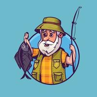 Fisherman with catch. Concept art of fishing in cartoon style. vector