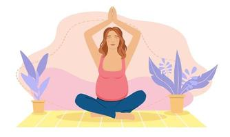 Pregnant woman meditating at home. Concept illustration for prenatal yoga, meditation, relax, recreation, healthy lifestyle. Illustration in flat cartoon style. vector