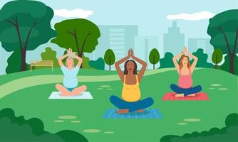 Concept illustration for prenatal yoga, meditation, relax,  healthy lifestyle. Pregnant women meditating in the park. Illustration in flat cartoon style. vector