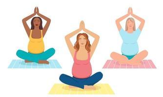 Concept illustration for prenatal yoga, meditation, relax,  healthy lifestyle. Pregnant women meditating. illustration in flat cartoon style. vector