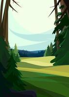 Beautiful coniferous forest. Nature landscape in vertical orientation. vector