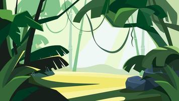 Tropical forest at dawn. vector