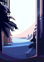 Winter coniferous forest. Natural scenery in vertical orientation. vector