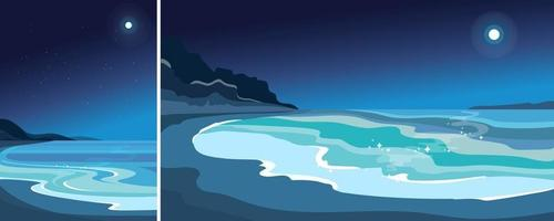 Beach in moonlight. Beautiful seascape in vertical and horizontal orientation. vector