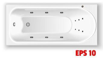 Vista superior de la bañera de acrílico rectangular blanco vector