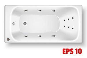 White rectangular acrylic bathtub top view vector