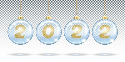 Numbers 2022 from gold glitter in Christmas transparent balls vector