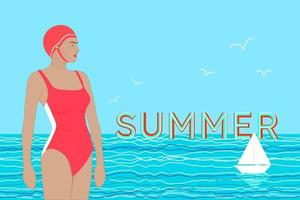 Woman in a swimsuit on the beach and sea at background. Vector illustration