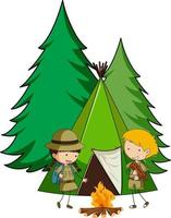 Camping tent with doodle kids cartoon character isolated vector