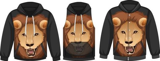 Set of different jackets with lion face template vector