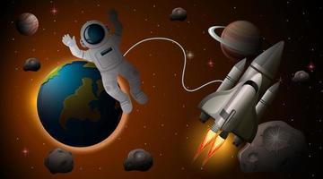 Astronaut and spaceship in space scene vector