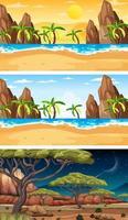 Conjunto de diferentes tipos de escenas horizontales de bosque. vector