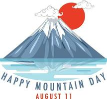 Mountain Day on August 11 banner with Mount Fuji and Red Sun vector
