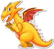 Yellow Dragon cartoon character sticker vector