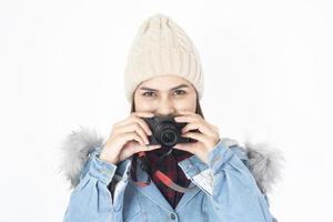 Beautiful traveller woman on white background photo