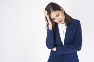 Business woman has a headache photo