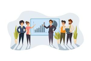 Group team of business people businessmen women at office meeting together vector